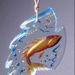 Glass sculpture in the White House collection, carved and painted glass.