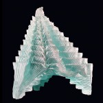 "Laminated and carved glass sculpture 12""H"