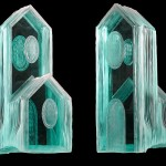 "Laminated and carved glass sculpture 22""H"