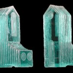 "Laminated and carved glass sculpture 18""H x 7.5""W x 7.5"" D"