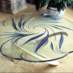 Glass top coffee table carved and painted.