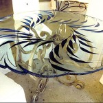 Custom carved and painted dining table 5' round.