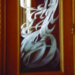 Niche Award carved glass door.