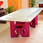 Dining table top, aviation aluminum 3.5' x 9'. Bass steel power coated.