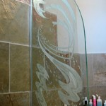 Custom carved and tempered bath divider