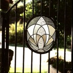 Leaded glass in entry gate.