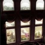 Beveled and leaded Glass living room Floor to ceiling windows