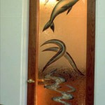 Custom carved, Glue chip and painted glass doors.