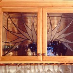 Leaded glass in cabinet doors.