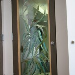 Carved and painted glass doors