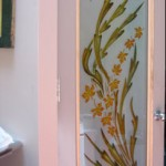 Opaque Glass Door Custom carved and painted glass